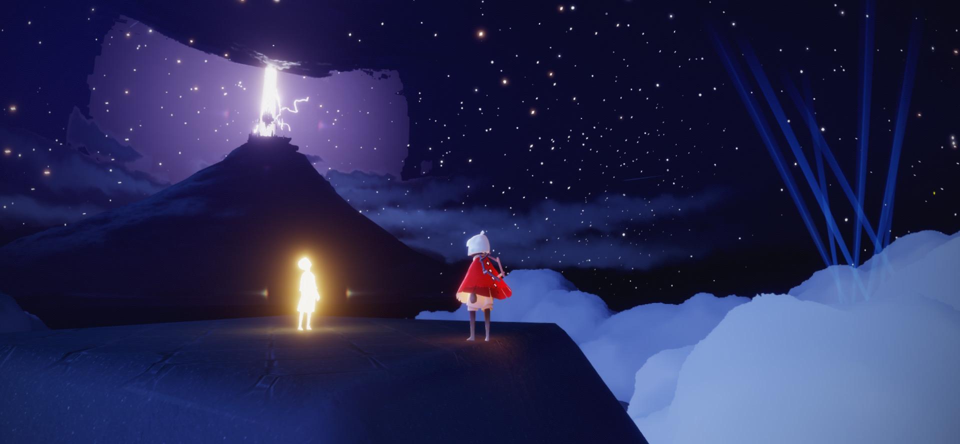 星月夜の砂漠の光の子